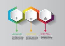 导航在六角形形状的infographic设计与五颜六色的设计 库存图片