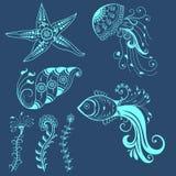 导航在印地安mehndi样式的抽象海洋生物 抽象无刺指甲花花卉传染媒介例证 设计要素例证图象向量 皇族释放例证