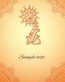 导航在印地安mehndi样式的抽象花卉元素 无刺指甲花Fl 免版税库存照片
