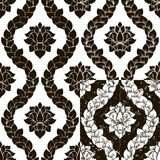 导航在四变异的花卉无缝的锦缎样式 黑白单色设计 图库摄影