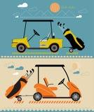 导航在夏天高尔夫球汽车的现代平的设计 库存照片