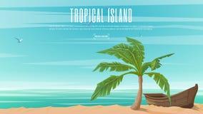 导航在天堂海岛题材的横幅有热带棕榈和木小船的 库存图片