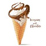 导航在奶蛋烘饼锥体的冰淇凌与巧克力螺旋 图库摄影