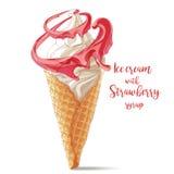 导航在奶蛋烘饼锥体的冰淇凌与草莓螺旋 免版税库存照片