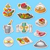 导航在平面背景的手拉的餐馆或客房服务元素贴纸 库存照片
