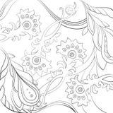 导航在得出的花卉样式线艺术样式 彩图页设计 免版税库存图片