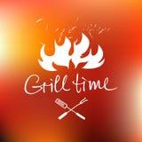 导航在手拉的商标上写字有红火背景 图库摄影