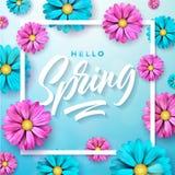 导航在春天自然题材的例证与在蓝色背景的美丽的五颜六色的花 花卉设计模板 免版税库存照片