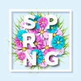 导航在春天自然题材的例证与在蓝色背景的美丽的五颜六色的花 花卉设计模板 免版税库存图片