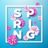 导航在春天自然题材的例证与在蓝色背景的美丽的五颜六色的花 花卉设计模板 免版税图库摄影