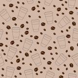 导航在棕色背景的无缝的样式用咖啡豆 免版税库存图片