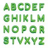 导航在白色背景隔绝的艺术绿色信件拉丁字母 样品英语字母表传染媒介例证 库存例证