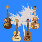 导航在白色背景隔绝的夏威夷电吉他尤克里里琴的例证 免版税库存照片