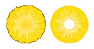 导航在白色背景隔绝的成熟水多的菠萝切片的例证 新鲜的异乎寻常的果子裁减圆环  免版税库存照片
