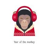 导航在红色耳机的猴子头,新年,圣诞节套头衫 免版税库存图片