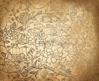 导航在老纸backgr的抽象花卉样式 免版税库存图片