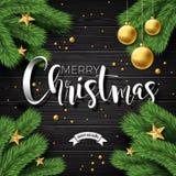 导航在葡萄酒木背景的圣诞快乐例证与印刷术和假日元素 星,杉木分支 库存例证