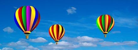 导航在蓝天的热空气五颜六色的气球 库存图片