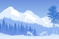 导航在蓝色颜色的冬天树木丛生的风景与吃草鹿和山 免版税库存照片