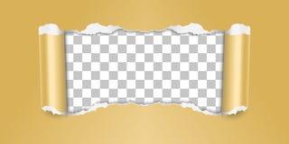 导航在金黄颜色的被撕毁的纸有透明背景 向量例证