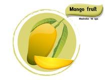 导航在颜色背景隔绝的芒果果子,以图例解释者10 eps 免版税库存照片