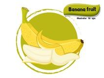 导航在颜色背景隔绝的香蕉果子,以图例解释者10 eps 免版税库存照片
