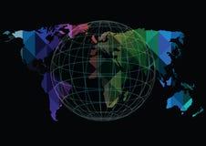 导航在黑背景隔绝的世界地图和地球象 免版税库存照片
