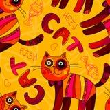 导航在黄色,桔子和桃红色的无缝的猫和鱼样式 免版税库存图片