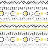 导航在黄色,白色和黑色的抽象无缝的样式 免版税库存照片