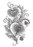 导航在zentangle样式的手拉的华丽花卉样式 图库摄影