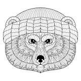 导航在zentangle,乱画样式的熊面孔 手拉的野生美洲黑杜鹃 皇族释放例证