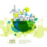 导航地球的例证与风轮机,房子概述的  免版税图库摄影