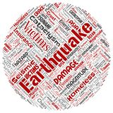 导航地震活动圆的圈子红色词云彩 皇族释放例证
