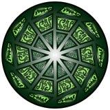 导航坛场,圆的几何装饰品,风格化花卉样式 被隔绝的设计元素五颜六色在白色背景 Abstrac 免版税库存照片