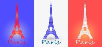 导航埃佛尔铁塔的例证反对法国旗子 EPS 免版税库存照片