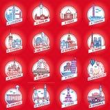 导航城市和国家历史大厦徽章集合 图库摄影