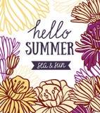 导航夏天与时髦的字法- & x27的邀请卡片; 你好夏天、海& sun& x27; 免版税库存照片