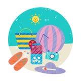 导航夏天五颜六色的例证,旅行,假日 套海滩假日,海岸反对 图库摄影