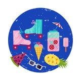 导航夏天五颜六色的例证,旅行,假日 套织地不很细海滩反对,冰淇凌,鸡尾酒,凤梨 免版税库存照片