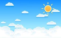 导航多云天空的例证与明亮的太阳的 免版税库存图片