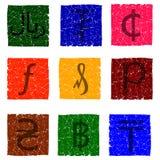 导航多彩多姿的难看的东西象的例证与各种各样的货币单位的标志的- hryvnia,便士,分,里亚尔,里亚尔,泰铢,猛拉 库存图片