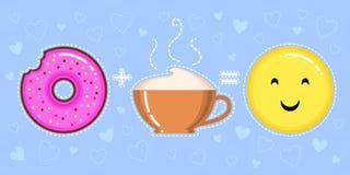 导航多福饼的例证与桃红色釉、热奶咖啡杯子和微笑的黄色面孔的 免版税库存图片