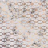 导航大理石纹理,与金黄立方体几何样式,黑白使有大理石花纹的表面的无缝的样式设计 库存例证