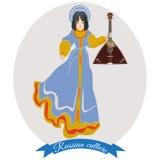 导航女孩的例证俄国传统衣物的有俄式三弦琴的,平的样式 免版税库存照片