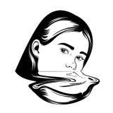 导航女孩的手拉的例证超现实主义的样式的 皇族释放例证