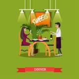 导航妇女的例证吃晚餐在餐馆,平的样式 库存图片
