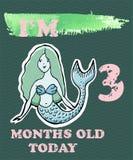 导航婴孩女孩或男孩的里程碑卡片 我是三个月ol 库存图片