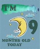 导航婴孩女孩或男孩的里程碑卡片 我是九个月 免版税库存照片