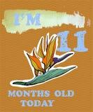 导航婴孩女孩或男孩的里程碑卡片 我是十一个月o 免版税图库摄影