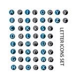 导航字母表圆的资本和小字母象集合,灰色和蓝色形状 库存图片